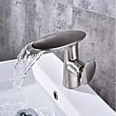 billiga Tvättställsblandare-Badrum Tvättställ Kran - Vattenfall Nickelborstad Centerset Singel Handtag Ett hålBath Taps