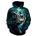 cheap Anime Costumes-Men's Plus Size Sports Long Sleeve Loose Hoodie - 3D Wolf, Print Hooded Green 4XL / Fall / Winter