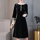 זול שמלות שושבינה-עד הברך דפוס, גיאומטרי - שמלה נדן רזה קטיפה מידות גדולות סגנון רחוב אלגנטית ליציאה בגדי ריקוד נשים