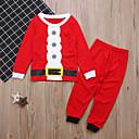 billige Sett med gutteklær-Barn Baby Gutt Grunnleggende Jul Daglig Ferie Ensfarget Jul Langermet Normal Normal Bomull Tøysett Rød