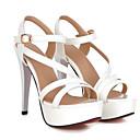 ราคาถูก รองเท้าแตะผู้หญิง-สำหรับผู้หญิง รองเท้าแตะ ส้น Stiletto PU ตก สีดำ / ขาว / สีชมพู