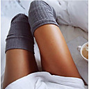 olcso Mesehős jelmezek-Női Térdig érő zoknik - Egyszínű Közepes vastagságú Bor Khakizöld Világos szürke Egy méret