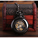 billiga Mekaniska klockor-Herr Skelettur Fickur Automatisk självuppdragande Svart Ihålig Gravyr Vardaglig klocka Dödskalle Ramtyp Dödskalle Mode Steampunk - Svart
