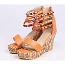 ราคาถูก รองเท้าแตะผู้หญิง-สำหรับผู้หญิง รองเท้าแตะ รองเท้าแตะส้นสูง รองเท้าส้นตึก PU ฤดูใบไม้ผลิ ขาว / ส้ม / ฟ้า