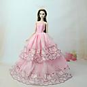 ราคาถูก อุปกรณ์ตุ๊กตา-ชุดตุ๊กตา ชุดเดรสต่างๆ สำหรับ Barbie ลูกไม้ สีชมพู ตูเล่ ลูกไม้ ฝ้ายผสม ชุดเดรส สำหรับ ของหญิงสาว ของเล่นตุ๊กตา