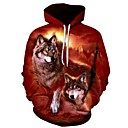 cheap Anime Costumes-Men's Plus Size Sports Long Sleeve Loose Hoodie - 3D Wolf, Print Hooded Wine 4XL / Fall / Winter