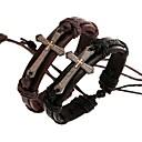 billiga Modearmband-Herr Armringar Armband av Remmar Läder Armband Flätad Sideways Cross Kors Stilig Unik design Paracord Armband Smycken Svart / Brun Till Dagligen Street / Handgjort Link Armband