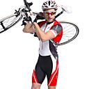 Χαμηλού Κόστους Σετ Μπλούζες & Σορτσάκια/Παντελόνια Ποδηλασίας-Nuckily Ανδρικά Κοντομάνικο Ολόσωμη στολή για τρίαθλο Κόκκινο Ριγέ Ποδήλατο Αναπνέει Ανατομικός Σχεδιασμός Υπεριώδης Αντίσταση Αθλητισμός Πολυεστέρας Spandex Ριγέ τρίαθλο Ρούχα / Ελαστικό / Προηγμένο