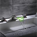 billiga Set med badrumstillbehör-Badrum Tvättställ Kran / Kranuppsättning - Vattenfall / Förtjusande Nickelborstad Hål med bredare avstånd Två handtag tre hålBath Taps / Mässing