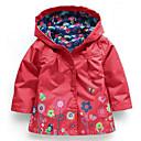 Χαμηλού Κόστους Σετ ρούχων για κορίτσια-Παιδιά Κοριτσίστικα Βασικό Φλοράλ Μακρυμάνικο Βαμβάκι Μπουφάν & Παλτό Θαλασσί