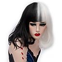 povoljno Stare svjetske nošnje-Cosplay perika / Sintetičke perike Ravan kroj Kardashian Stil Srednji dio Capless Perika Crna Crna / Bijela Sintentička kosa 14 inch Žene Modni dizajn Crna / Bijela Perika Kratko