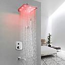 povoljno Slavine za tuš-Kupaonica Sudoper pipa - Suvremena Chrome Zidne slavine Brass ventila Bath Shower Mixer Taps / Jedan ručku četiri otvora