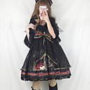 billige Lolitakjoler-Vintage Gothic Lolita Classic Lolita Kjoler Jente Dame Chiffon Blonde Japansk Cosplay-kostymer Svart / Gul / Blæk Blå Trykt mønster Sydd Blonde Blonder Puffermer Halvlange ermer Midi / Gotisk Lolita