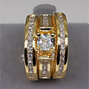 Χαμηλού Κόστους Χαραγμένο Δαχτυλίδια-Για Ζευγάρια Δαχτυλίδι αρραβώνων Διαμάντι Cubic Zirconia Moissanite 1set Χρυσό Ασημί Χαλκός Στρας Κυκλικό Ακανόνιστο κυρίες Στυλάτο Πολυτέλεια Γάμου Αρραβώνας Κοσμήματα Πολυεπίπεδο Κομψό Πασιέντζα
