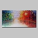 povoljno Slike krajolika-Hang oslikana uljanim bojama Ručno oslikana - Pejzaž Cvjetni / Botanički Moderna Uključi Unutarnji okvir / Prošireni platno