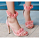ราคาถูก รองเท้าแตะผู้หญิง-สำหรับผู้หญิง รองเท้าแตะ ส้น Stiletto หนังนิ่ม ตก สีดำ / สีเหลือง / สีชมพู