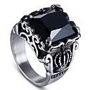 ราคาถูก สร้อยคอจี้-สำหรับผู้ชาย แหวน แหวนตรา หินอัญมณี สีดำธรรมชาติ 1pc สีดำ เรซิน ทองแดง รอบ ผิดปกติ Stylish วินเทจ Military ของขวัญ Street เครื่องประดับ สไตล์วินเทจ เล่นไพ่คนเดียว มงกุฎ เท่ห์