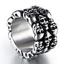 ราคาถูก แหวนผู้ชาย-สำหรับผู้ชาย วงแหวน 1pc สีเงิน Titanium Steel รอบ Stylish วินเทจ Punk Street คลับ เครื่องประดับ สไตล์วินเทจ Sculpture Skull เท่ห์