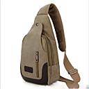 ราคาถูก กระเป๋าสะพายไหล่มาใหม่-สำหรับผู้ชาย ซิป ผ้าใบ กระเป๋าสะพายสลิง กระเป๋าผ้าแคนวาส สีเขียวอ่อน / สีน้ำตาล / สีกากี