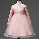 Χαμηλού Κόστους Φορέματα για κορίτσια-Μωρό Κοριτσίστικα Βίντατζ Πάρτι / Γενέθλια Μονόχρωμο Μακρυμάνικο Ως το Γόνατο Βαμβάκι Φόρεμα Λευκό