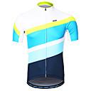 ราคาถูก เสื้อผ้าสำหรับสุนัข-Arsuxeo สำหรับผู้ชาย แขนสั้น Cycling Jersey สีฟ้า+สีขาว ลายต่อ จักรยาน เสื้อยืด ขี่จักรยานปีนเขา Road Cycling แถบสะท้อนแสง Sweat-wicking กีฬา 100% โพลีเอสเตอร์ เสื้อผ้าถัก