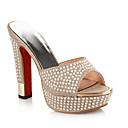 ราคาถูก รองเท้าแตะผู้หญิง-สำหรับผู้หญิง รองเท้าแตะ ส้น Stiletto PU ฤดูร้อน ขาว / สีทอง