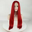 Χαμηλού Κόστους Συνθετικές περούκες με δαντέλα-Συνθετικές μπροστινές περούκες δαντέλας Ματ Μεταξένια Ίσια Μέσο μέρος Δαντέλα Μπροστά Περούκα Μακρύ Κόκκινο Συνθετικά μαλλιά 16-26 inch Γυναικεία Μεταξένιο Ομαλό συνθετικός Κόκκινο