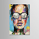 Χαμηλού Κόστους Πίνακες Ανθρώπων-Hang-ζωγραφισμένα ελαιογραφία Ζωγραφισμένα στο χέρι - Αφηρημένο Μοντέρνα Χωρίς Εσωτερικό Πλαίσιο / Κυλινδρικός καμβάς