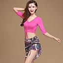 ราคาถูก เครื่องประดับประกอบการเต้นรำ-ชุดเต้นระบำหน้าท้อง Outfits สำหรับผู้หญิง การฝึกอบรม / Performance Modal แพทเทิร์นหรือลายพิมพ์ / กระโปรงระบาย / แบนเอด ครึ่งแขน สูง กระโปรง / Top
