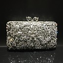 cheap Clutches & Evening Bags-Women's Crystals / Hollow-out Alloy Evening Bag Rhinestone Crystal Evening Bags Solid Color Gold / Silver / Fall & Winter