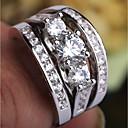 billige Graverte Ringer-Dame Ring Ring Set Midiringe Kubisk Zirkonium 3pcs Sølv Kobber Platin Belagt Fuskediamant Fire tenger damer trendy Romantikk Fest Stevnemøte Smykker Multi Layer Fortid nåtid fremtid Dyrebar Smuk