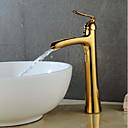 Χαμηλού Κόστους Βρύσες Νιπτήρα Μπάνιου-Μπάνιο βρύση νεροχύτη - Καταρράκτης Χρυσαφί / Βαμμένα τελειώματα Αναμεικτικές με ενιαίες βαλβίδες Ενιαία Χειριστείτε μια τρύπαBath Taps