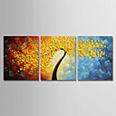 povoljno Apstraktno slikarstvo-Hang oslikana uljanim bojama Ručno oslikana - Cvjetni / Botanički Moderna Uključi Unutarnji okvir / Tri plohe / Prošireni platno