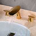 povoljno Slavine za umivaonik-Kupaonica Sudoper pipa - Waterfall / Kreativan Golden Slavine s tri otvora Dvije ručke tri rupeBath Taps