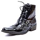 ราคาถูก เครื่องเสียงรถยนต์-สำหรับผู้ชาย Fashion Boots หนังสิทธิบัตร ฤดูหนาว ไม่เป็นทางการ / อังกฤษ บูท รักษาให้อุ่น บู้ทสูงระดับกลาง สีดำ