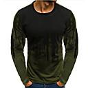 Χαμηλού Κόστους ΑΑυτοκίνητα RC-Ανδρικά T-shirt Βαμβάκι Συνδυασμός Χρωμάτων Στρογγυλή Λαιμόκοψη Λεπτό Ρουμπίνι / Μακρυμάνικο