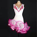 baratos Roupas de Dança Latina-Dança Latina Vestidos Mulheres Treino Elastano / Tule Apliques / Cristal / Strass Sem Manga Alto Vestido