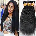 billige Hairextension med naturlig farge-4 pakker Malaysisk hår Yaki Straight Ekte hår Ubehandlet Menneskehår Menneskehår Vevet Forlengere Bundle Hair 8-28 tommers Naturlig Farge Hårvever med menneskehår Beste kvalitet Tykk 100% Jomfru / 8A