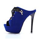 baratos Sapatos de Salto-Mulheres Saltos Salto Agulha Dedo Aberto Camurça / Microfibra Verão Preto / Vermelho / Azul / Diário