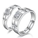 Χαμηλού Κόστους Μοδάτο Δαχτυλίδι-Για Ζευγάρια Δαχτυλίδια Ζευγαριού Δαχτυλίδια Groove 2pcs Ασημί Στρας Κράμα κυρίες Ρομαντικό Prieten Γάμου Δώρο Κοσμήματα Κλασσικό Ταίριασμα Την Και την Καρδιά Σχέση