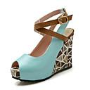 ราคาถูก รองเท้าแตะผู้หญิง-สำหรับผู้หญิง รองเท้าแตะ รองเท้าส้นตึก Synthetics ฤดูร้อน ขาว / สีเขียว / ฟ้า