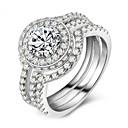 ราคาถูก แหวน-สำหรับผู้หญิง วงแหวน Cubic Zirconia 3 ชิ้น สีเงิน โลหะผสม รูปร่างวงกลม คลาสสิก วินเทจ สง่างาม งานแต่งงาน การหมั้น เครื่องประดับ โบราณ Flower น่ารัก
