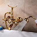 billiga Toalettborsthållare-Badkarskran - Antik Väggmonterad Keramisk Ventil Bath Shower Mixer Taps / Två handtag Ett hål