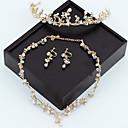 tanie Modne kolczyki-Damskie Złoty Kryształ Naszyjniki Biżuteria na czoło Zestaw kolczyków Klasyczny Łyszczec Luksusowy Sztuczna perła Kolczyki Biżuteria Złoty Na Ślub Impreza 1 zestaw