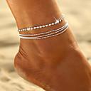 ราคาถูก สร้อยคอ-สำหรับผู้หญิง สร้อยข้อมือข้อเท้า ลูกปัด โรแมนติก สร้อยข้อเท้า เครื่องประดับ สีทอง / สีเงิน สำหรับ Street ไปเที่ยว
