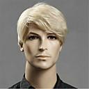 billiga Tupéer-Syntetiska peruker Rak Asymmetrisk frisyr Peruk Blond Korta Ljusguldig Syntetiskt hår 20 tum Herr Ung Blond