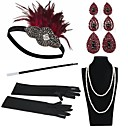 cheap Historical & Vintage Costumes-The Great Gatsby Charleston Vintage 1920s Roaring 20s Costume Accessory Sets Gloves Necklace Flapper Headband Women's Feather Costume Head Jewelry Earrings Pearl Necklace Black / Red Vintage Cosplay