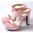 ราคาถูก รองเท้าแตะผู้หญิง-สำหรับผู้หญิง รองเท้าแตะ ส้นหนา PU ฤดูร้อน สีเงิน / สีเขียว / สีชมพู