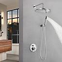 billiga Tvättställsblandare-Duschkran / Badrum Tvättställ Kran - Nutida Krom Väggmonterad Mässing Ventil Bath Shower Mixer Taps / Enda handtag tre hål