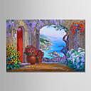 billige Abstrakte malerier-Hang malte oljemaleri Håndmalte - Landskap Moderne Uten Indre Ramme / Valset lerret